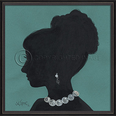 15035 BC Lady Silhouette 9 Blue Framed Art