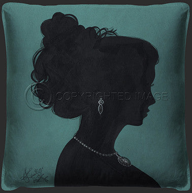15042 Lady Silhouette 2 Blue Pillow