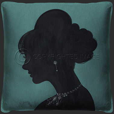 15043 Lady Silhouette 4 Blue Pillow