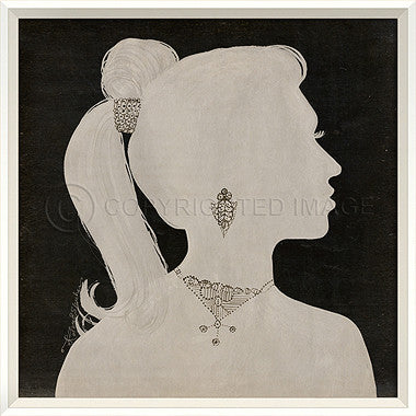 15054 WC Lady Silhouette 1 White on Black Framed Art