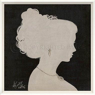 15055 WC Lady Silhouette 2 White on Black Framed Art