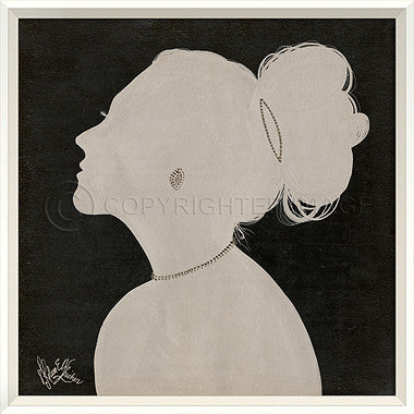 15056 WC Lady Silhouette 3 White on Black Framed Art