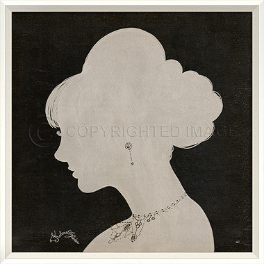 15057 WC Lady Silhouette 4 White on Black Framed Art