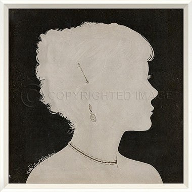 15058 WC Lady Silhouette 6 White on Black Framed Art