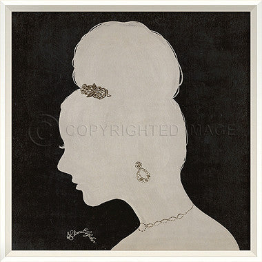 15059 WC Lady Silhouette 7 White on Black Framed Art