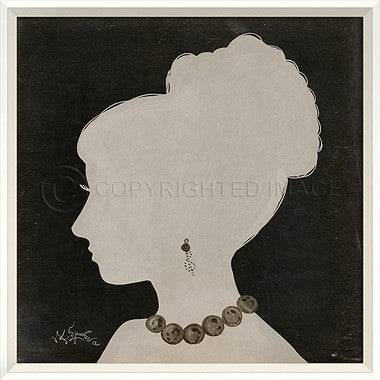 15061 WC Lady Silhouette 9 White on Black Framed Art