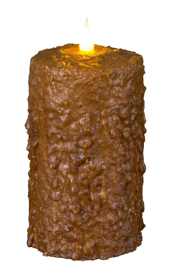 Brown LED Waxed Candle