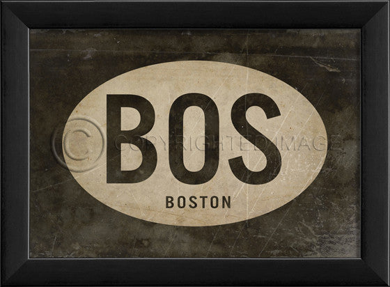17916 EB BOS Boston Airport Code Framed Art
