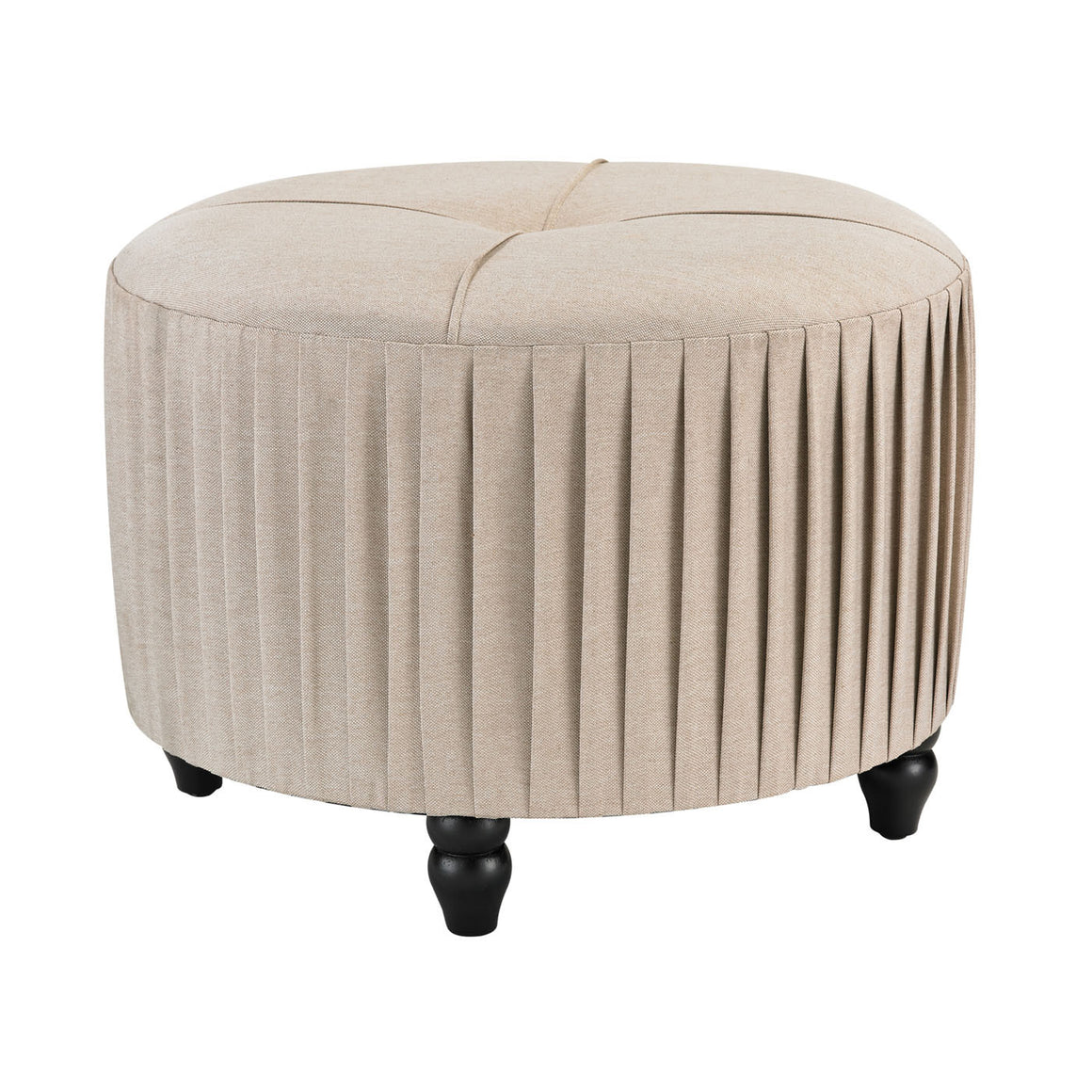 Pleated Ottoman in Natural Linen 180-012 by Sterling