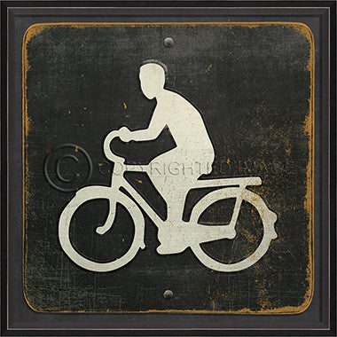 18730 BC Bicyclist on Black Framed Art