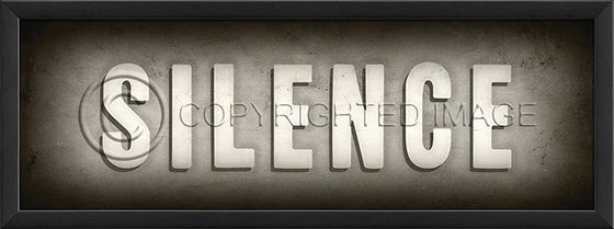 19250 EB Theater Sign Silence Framed Art
