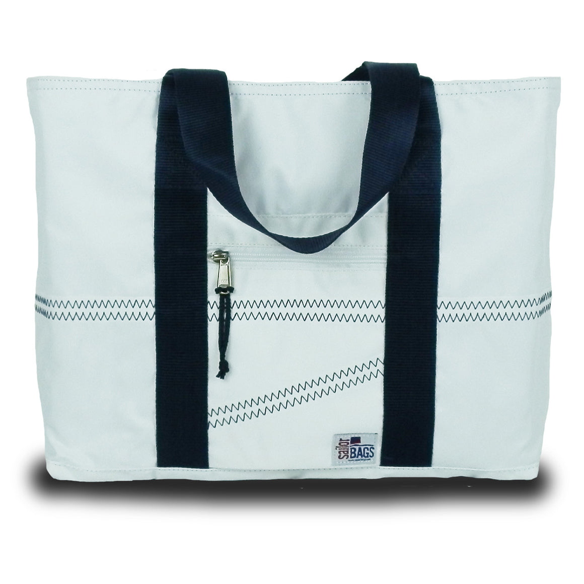 Newport Medium Tote by SailorBags White w/ Blue Trim