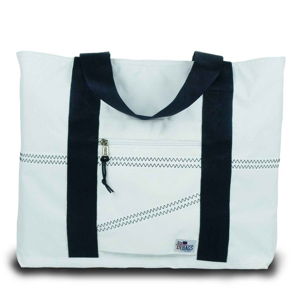 Newport Large Tote by SailorBags White w/ Blue Trim