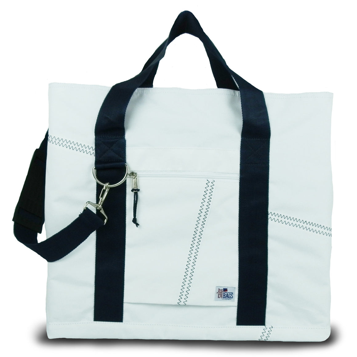 Newport XL Tote by SailorBags White w/ Blue Trim