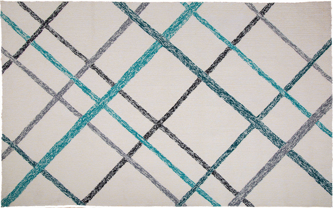 MAT Orange SLNLIEITE Area Rug in Ivory Turquoise
