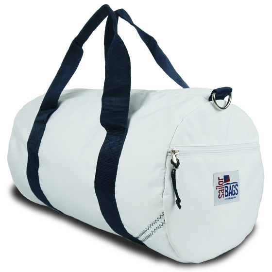 Newport Medium Round Duffel by SailorBags White w/ Blue Trim