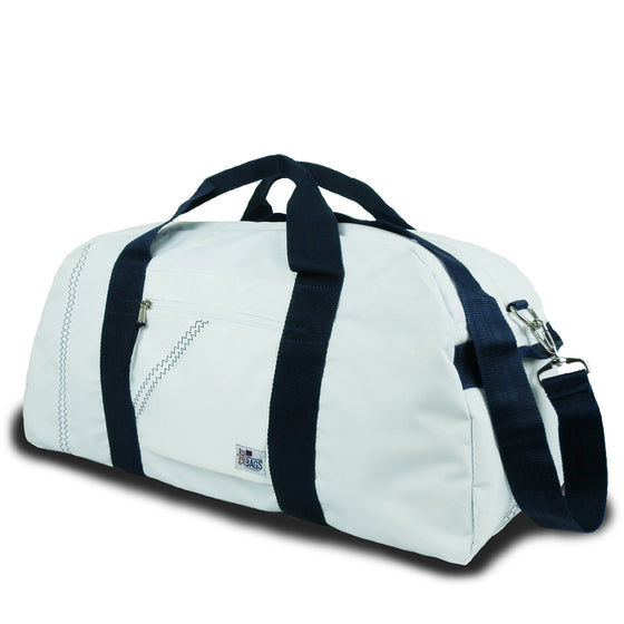 Newport Large Square Duffel by SailorBags White w/ Blue Trim