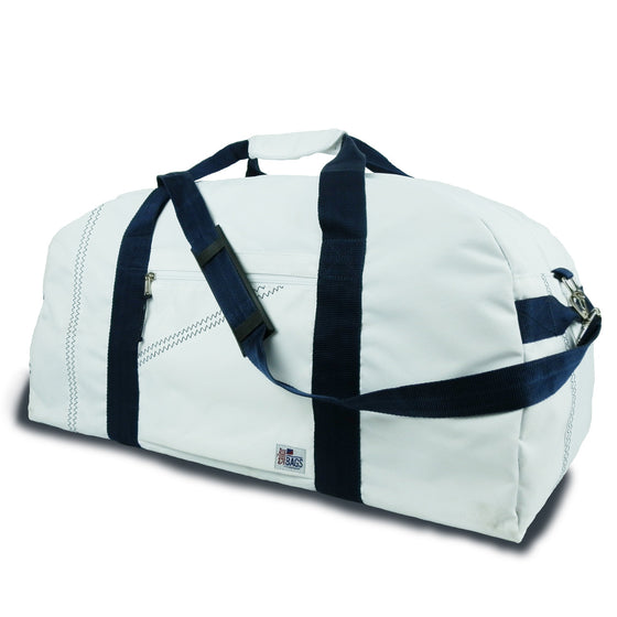 Newport XL Square Duffel by SailorBags White w/ Blue Trim
