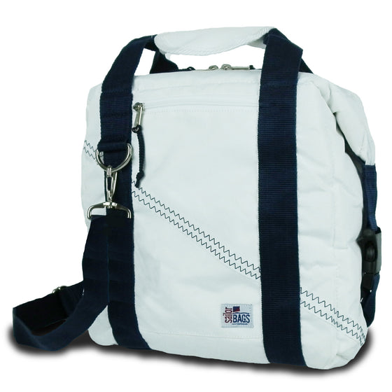 Newport Insulated 12-Pack CoolerBag by SailorBags White w/ Blue Trim