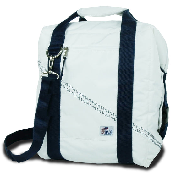 Newport Insulated 24-Pack CoolerBag by SailorBags White w/ Blue Trim