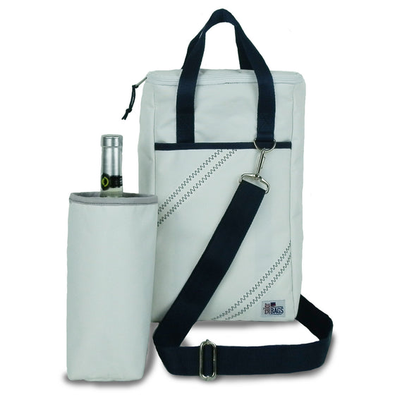 Newport Insulated 2-Bottle Wine Tote by SailorBags White w/ Blue Trim