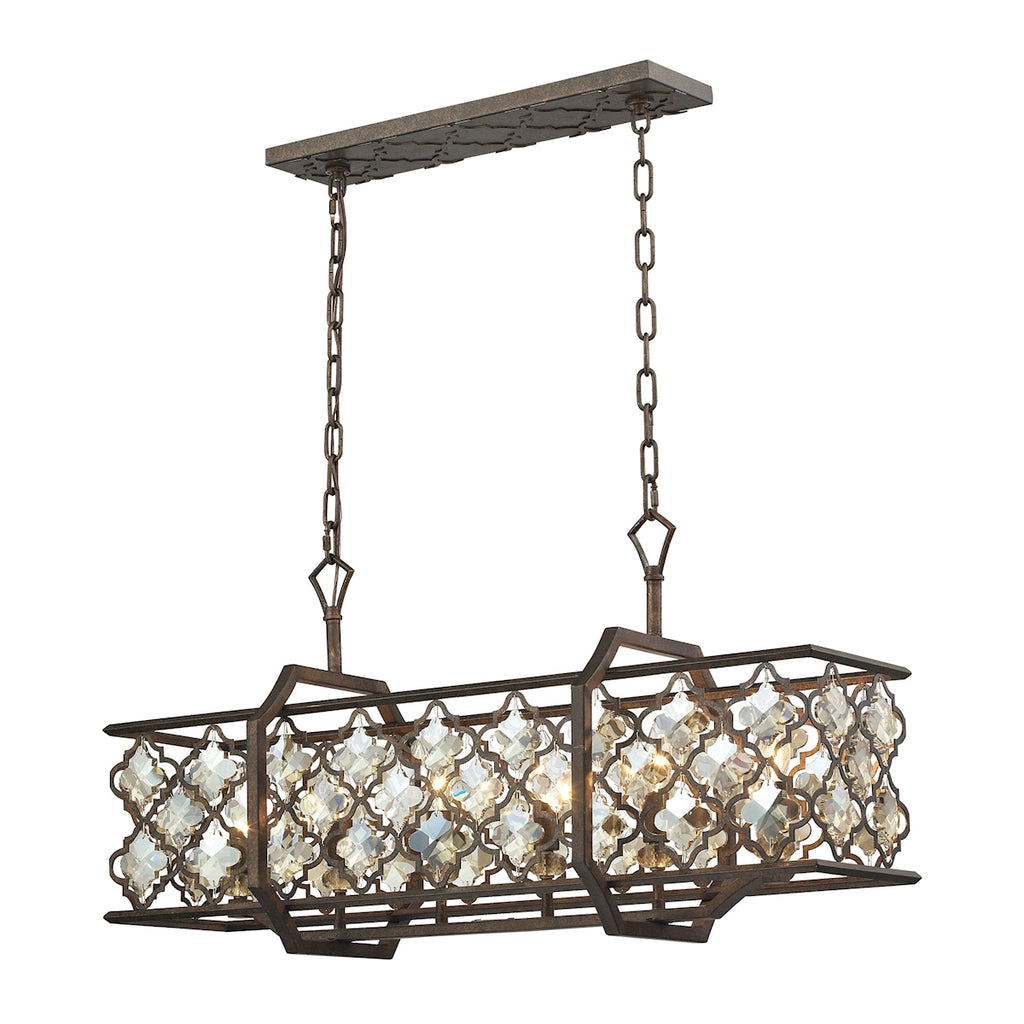 Armand 6 Light Island In Weathered Bronze 31098/6 by Elk Lighting