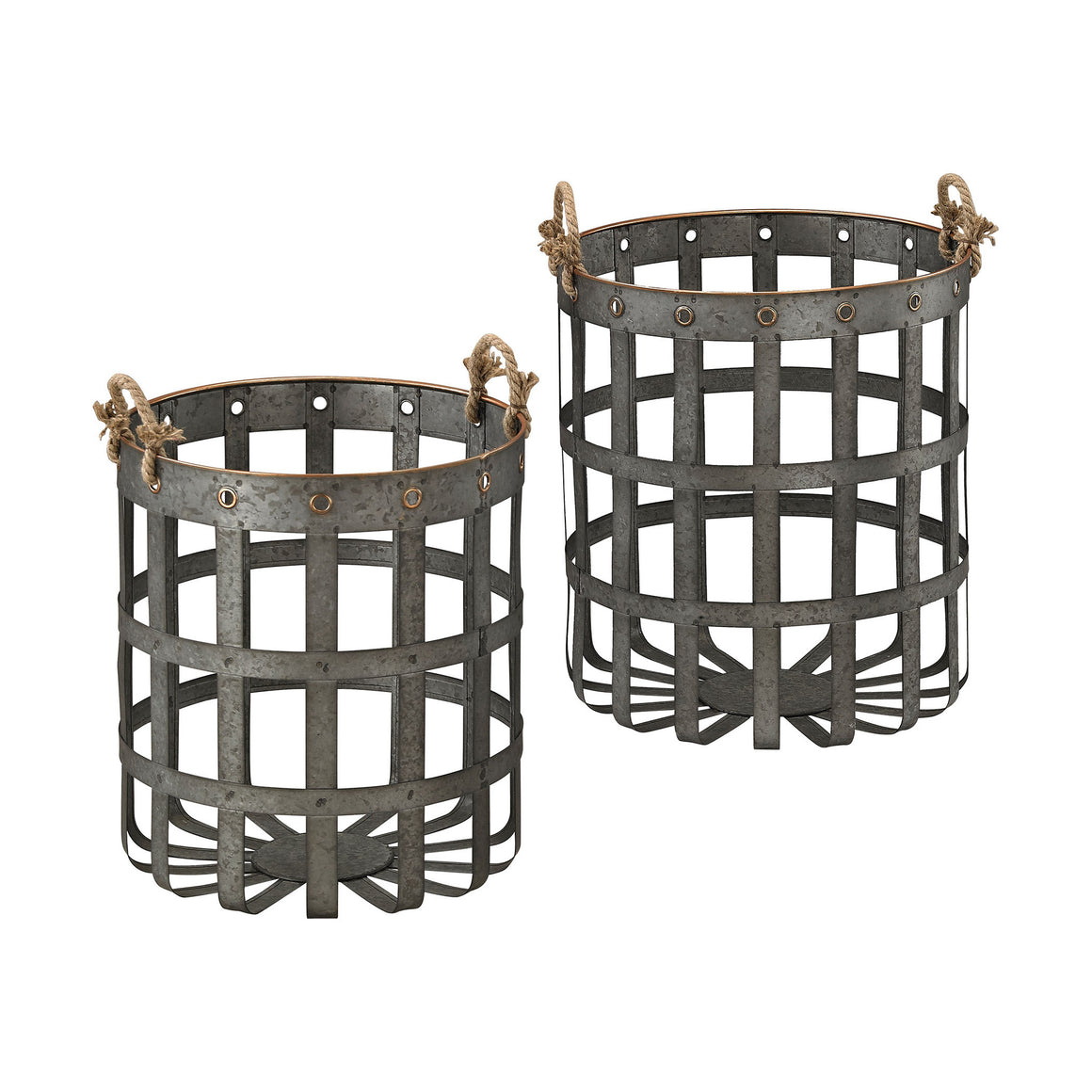 Caxton Baskets In Aged Iron With Gold Highlights
