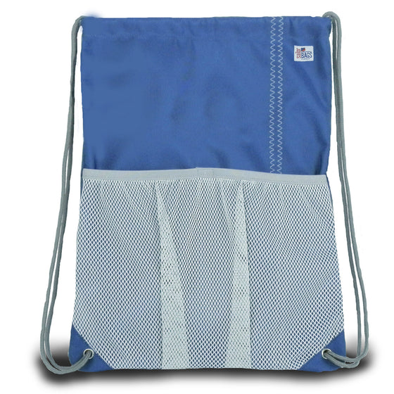 Chesapeake Drawstring Backpack by SailorBags Nautical Blue w/ Grey Trim