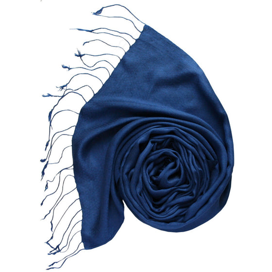 Silk-Modal: Midnight Blue Feather Scarves by Sustainable Threads