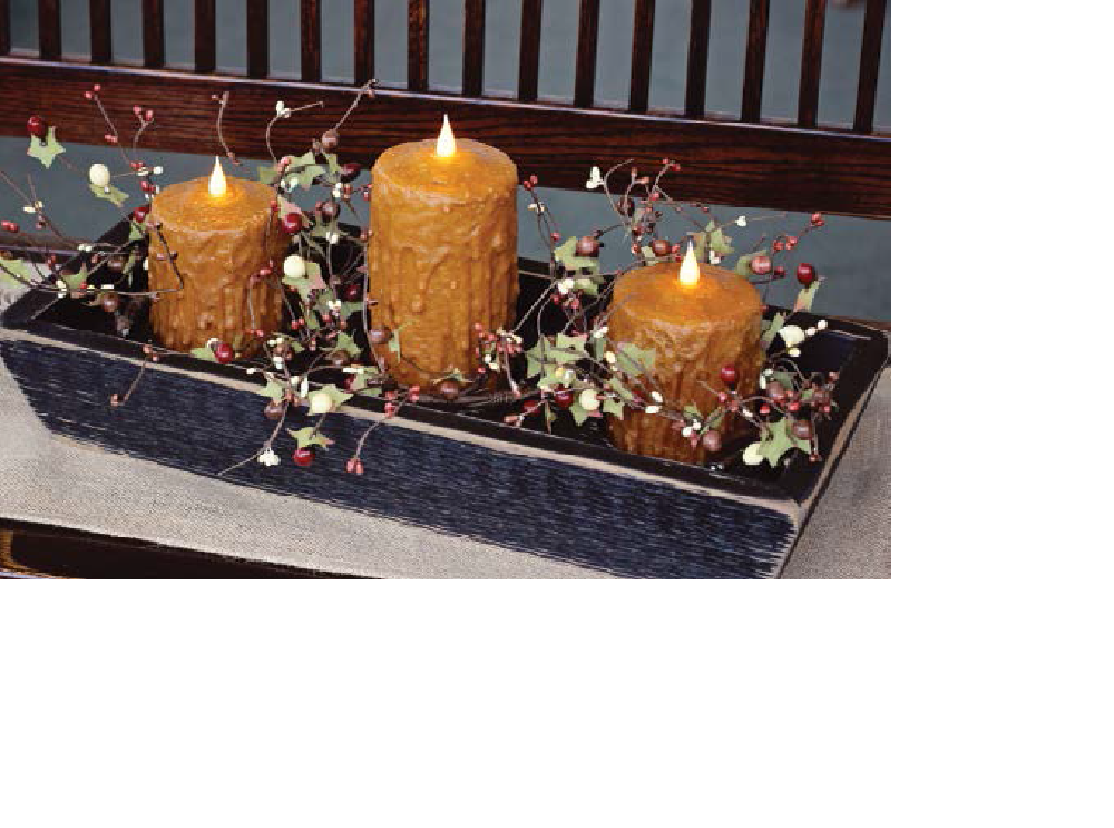"Black Trough with 1, 6"" and 2, 4"" Brown Candles and Garland"