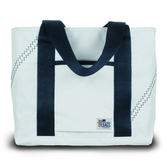 Newport Mini Tote by SailorBags White w/ Blue Trim