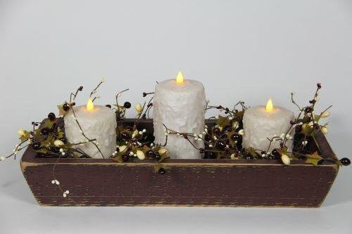 "Burgundy Trough with 1, 6"" and 2, 4"" Cream Candles and Garland"