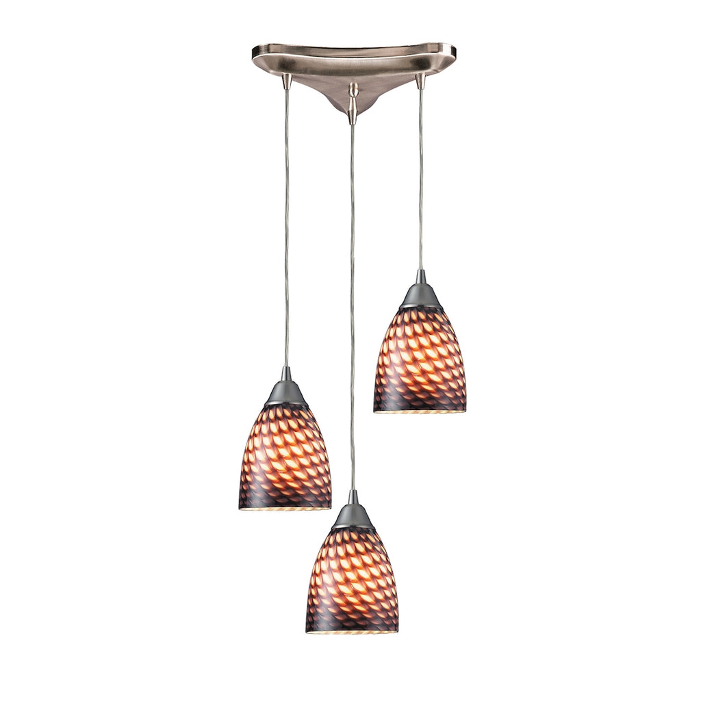 Arco Baleno 3 Light Pendant In Satin Nickel And Coco Glass 416-3C by Elk Lighting