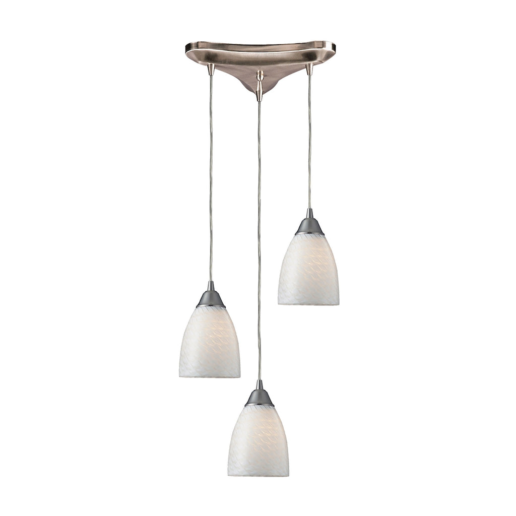 Arco Baleno 3 Light Pendant In Satin Nickel And White Swirl Glass 416-3WS by Elk Lighting
