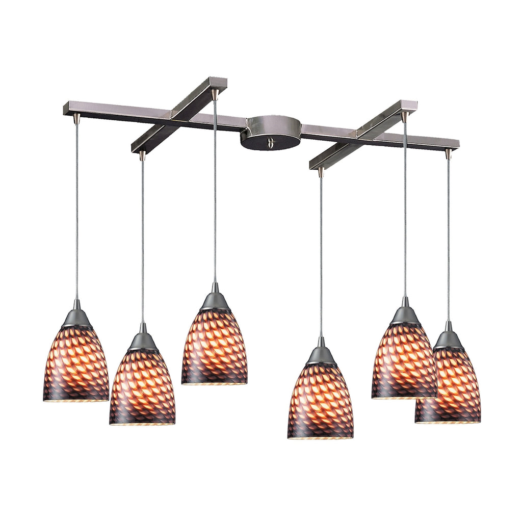 Arco Baleno 6 Light Pendant In Satin Nickel And Coco Glass 416-6C by Elk Lighting