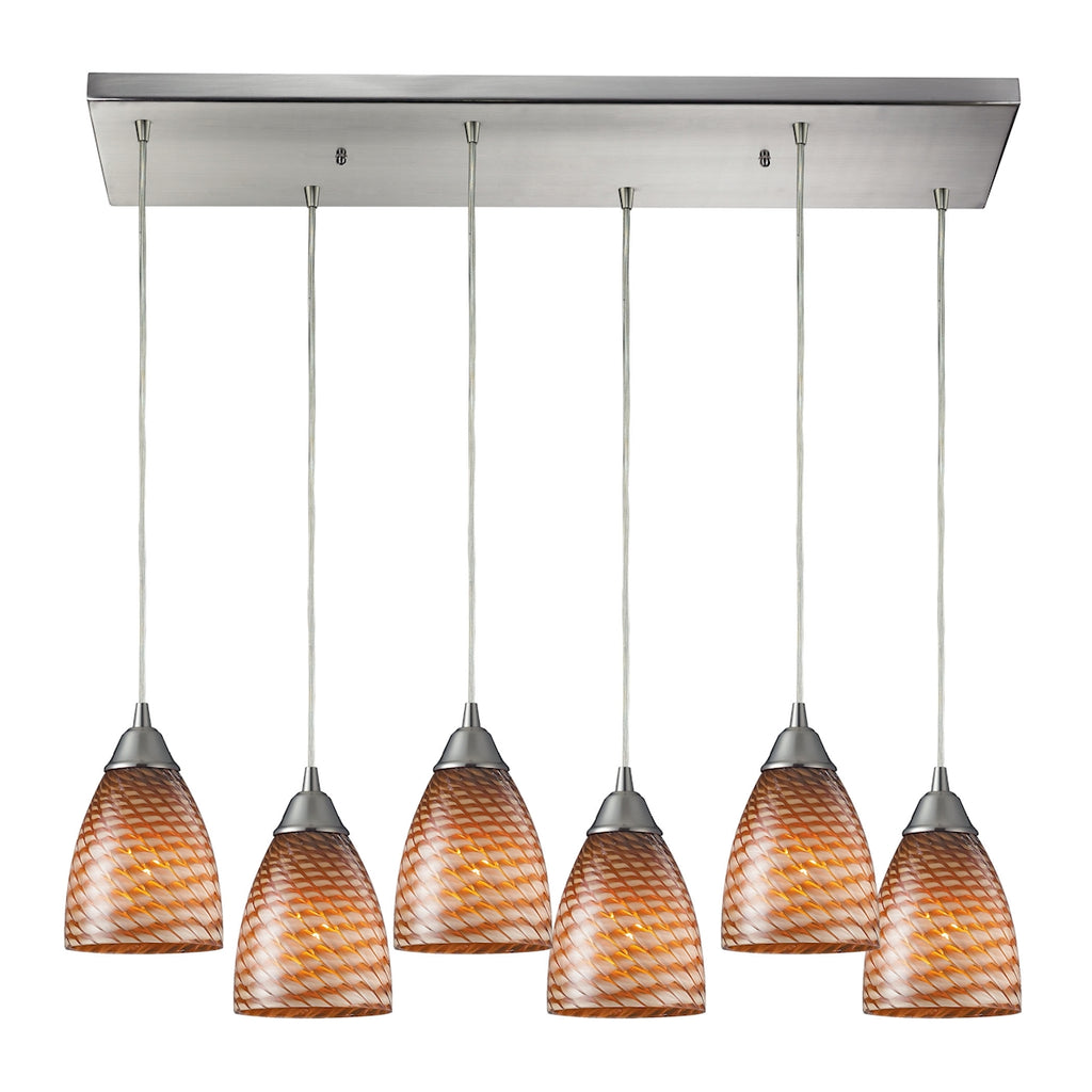 Arco Baleno 6 Light Pendant In Satin Nickel 416-6RC-C by Elk Lighting