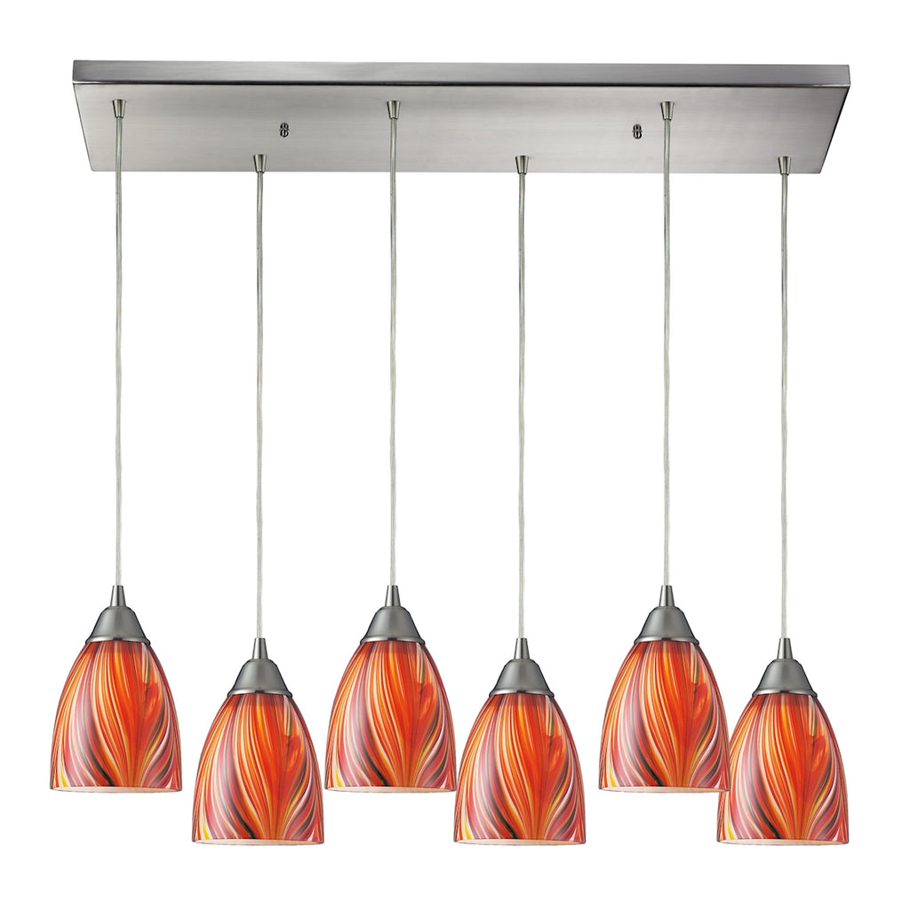 Arco Baleno 6 Light Pendant In Satin Nickel 416-6RC-M by Elk Lighting