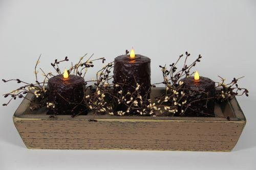 "Brown Trough with 1, 6"" and 2, 4"" Burgundy Candles and Garland"