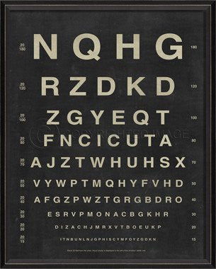 BC Eye Chart - Letters Framed Art
