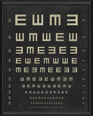 45076 BC Eye Chart - Tumbling E Framed Art