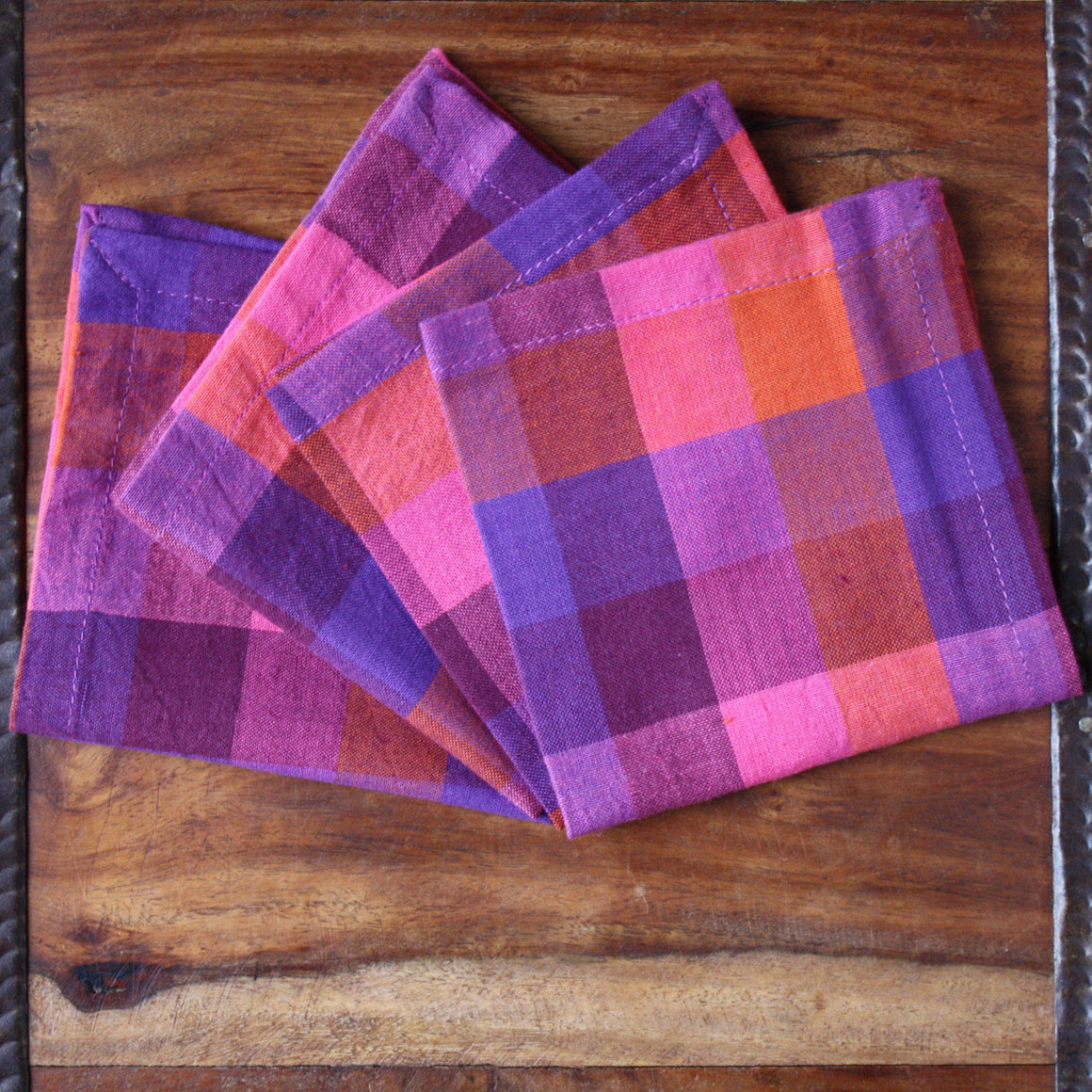 Checkered Plum Napkins by Sustainable Threads