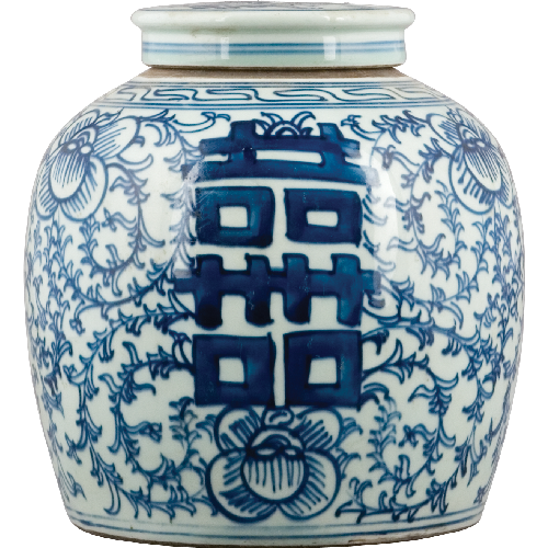 Blue and White - Double Happiness Lidded Jar by Oriental Danny