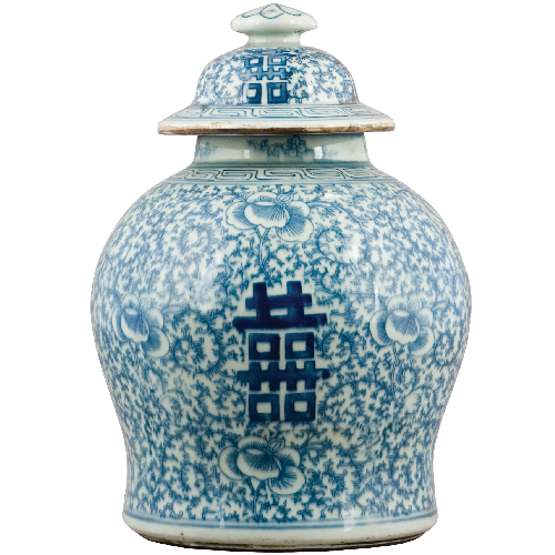 Blue and White - Double Happiness Ginger Jar (Classic) by Oriental Danny