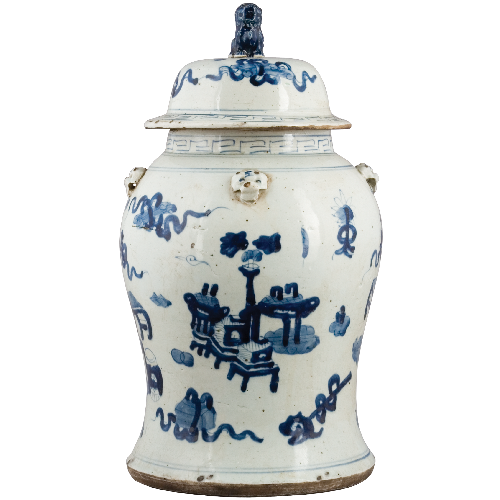 Blue and White Lidded Lion Jar - Floral (Classic) by Oriental Danny