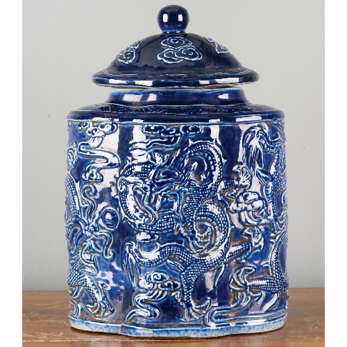 Porcelain Carved Scallop Shape Jar - Indigo Blue by Oriental Danny