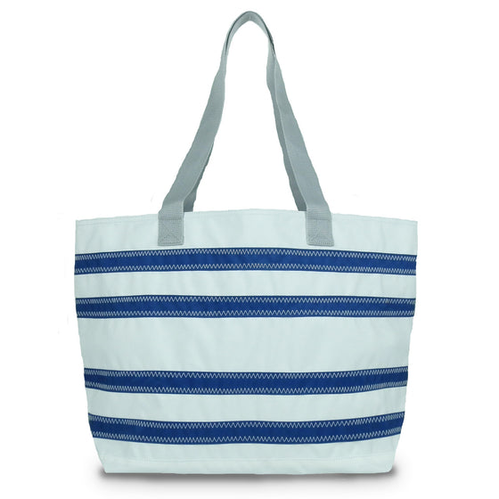 Nautical Stripes Large Tote by SailorBags White w/ Nautical Blue Stripes