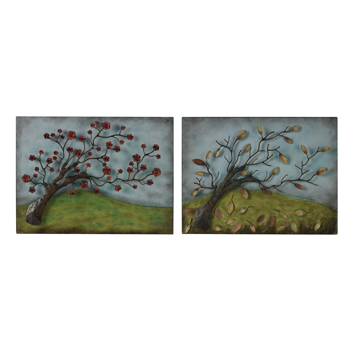 Autumn And Spring-Set Of 2 Metal Autumn And Spring Pictures  by Sterling