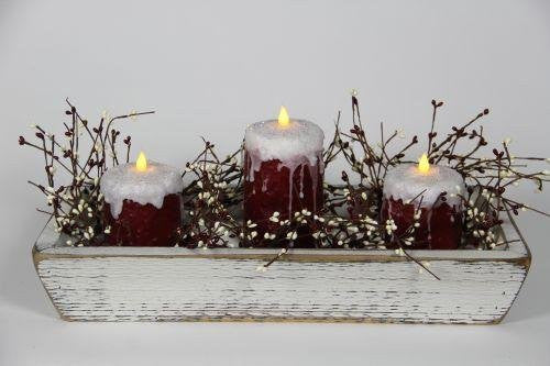 "White Trough with 1, 6"" and 2, 4"" Frosted Red Candles and Garland"