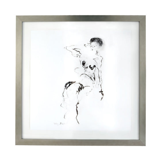 Charcoal And Ink Nude With Silver Leaf Frame by Dimond Home