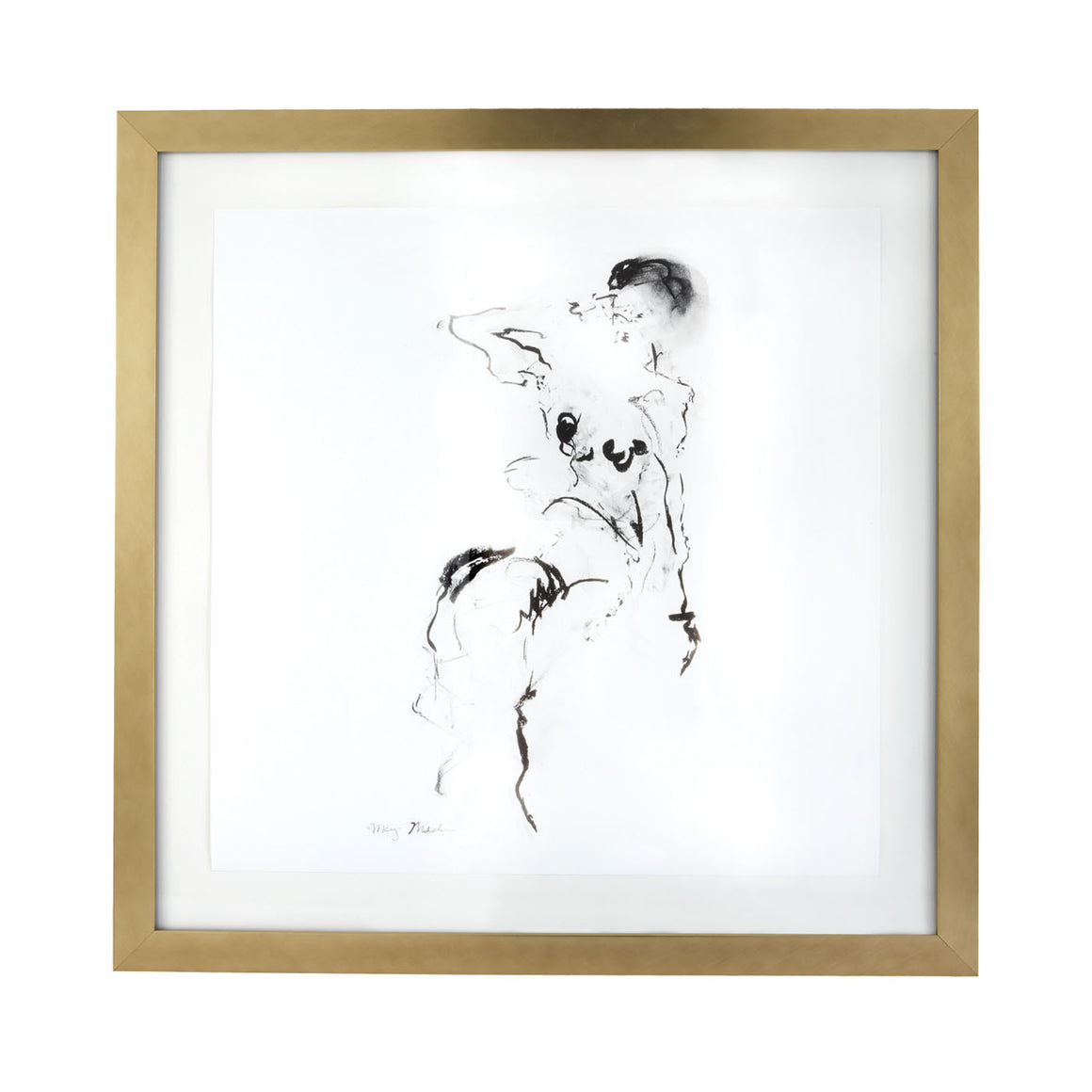 Charcoal And Ink Nude With Gold Leaf Frame by Dimond Home